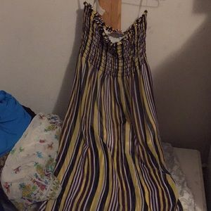Strapless yellow and purple striped dress